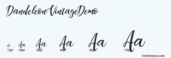sizes of dandeleonvintagedemo font, dandeleonvintagedemo sizes