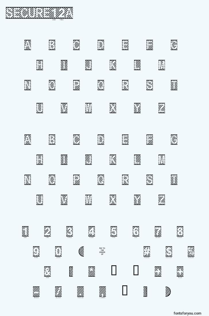 characters of secure12a font, letter of secure12a font, alphabet of  secure12a font