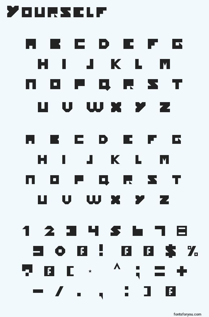 characters of yourself font, letter of yourself font, alphabet of  yourself font