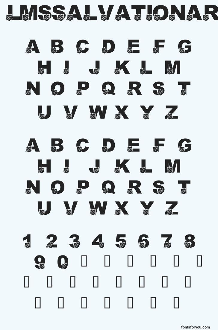 characters of lmssalvationarmy font, letter of lmssalvationarmy font, alphabet of  lmssalvationarmy font