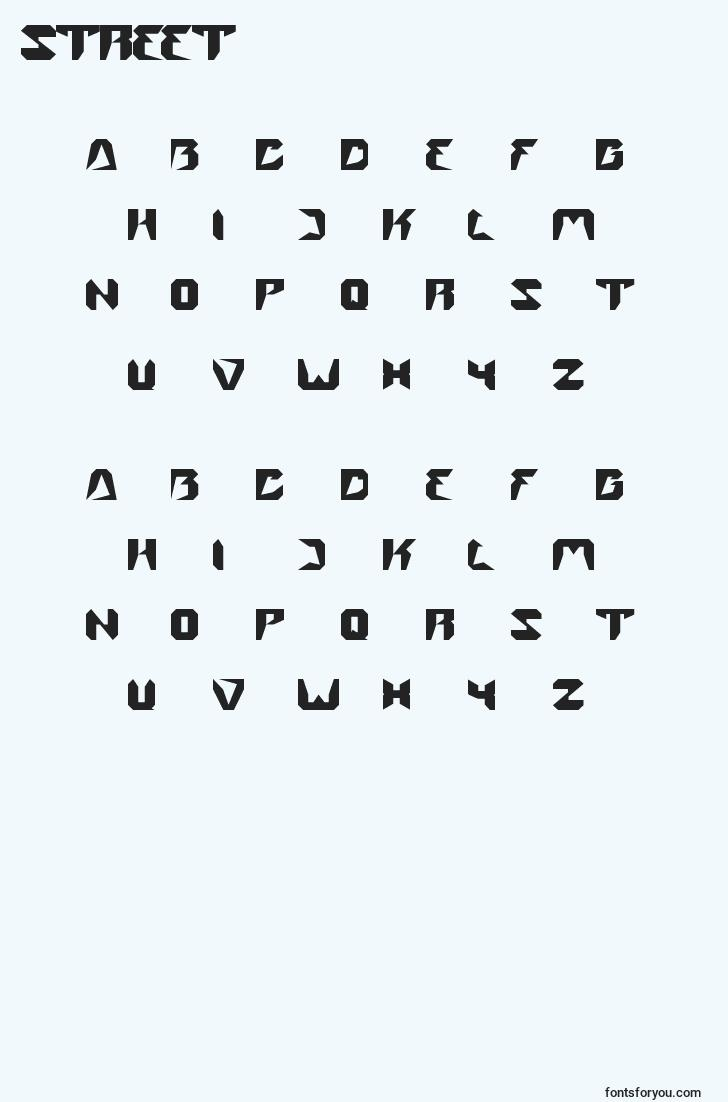 characters of street font, letter of street font, alphabet of  street font