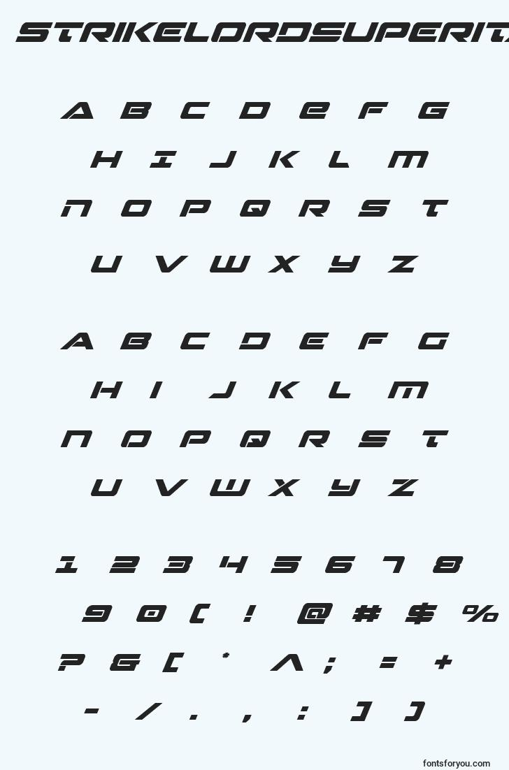 characters of strikelordsuperital font, letter of strikelordsuperital font, alphabet of  strikelordsuperital font