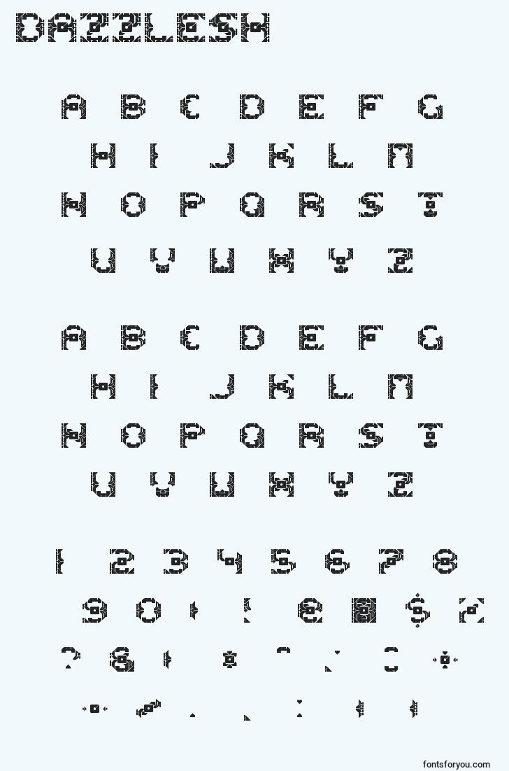characters of dazzlesh font, letter of dazzlesh font, alphabet of  dazzlesh font
