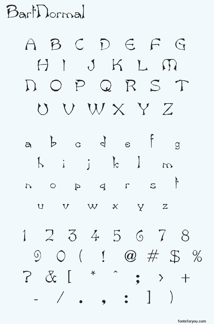 characters of bartnormal font, letter of bartnormal font, alphabet of  bartnormal font