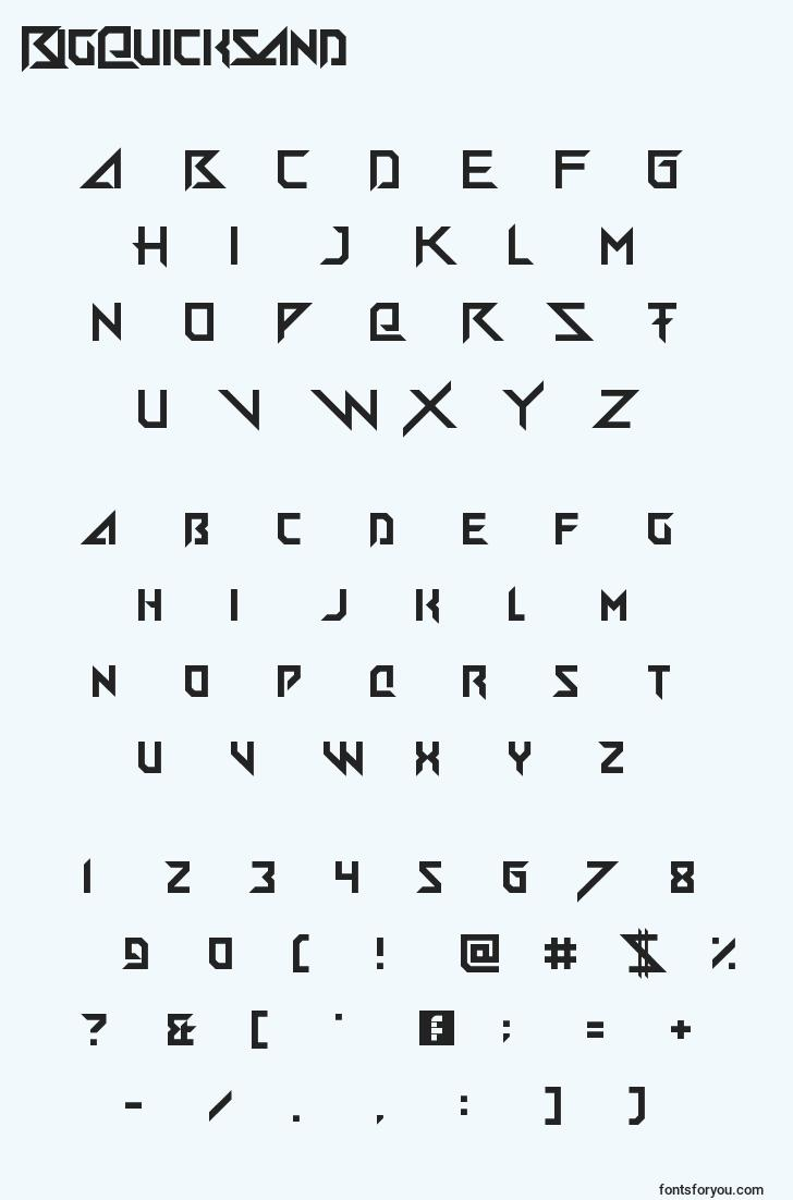 characters of bigquicksand font, letter of bigquicksand font, alphabet of  bigquicksand font