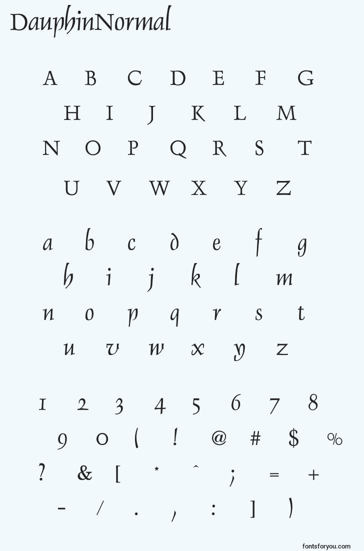 characters of dauphinnormal font, letter of dauphinnormal font, alphabet of  dauphinnormal font