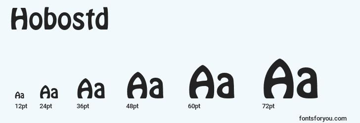 sizes of hobostd font, hobostd sizes