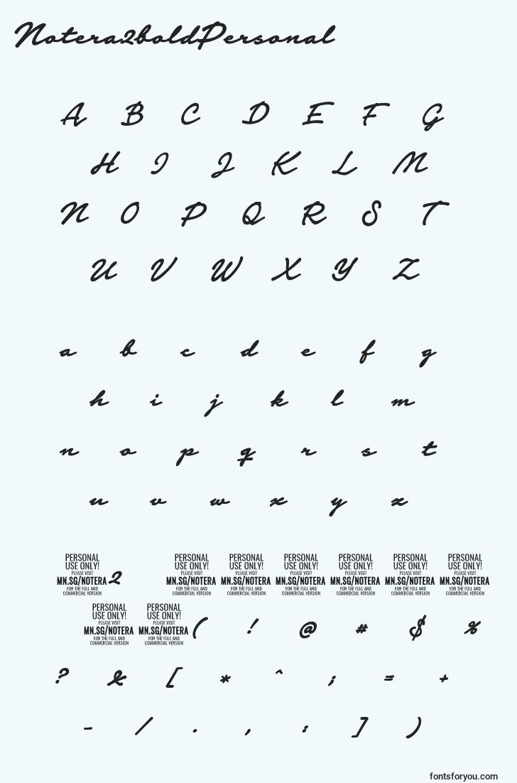 characters of notera2boldpersonal font, letter of notera2boldpersonal font, alphabet of  notera2boldpersonal font