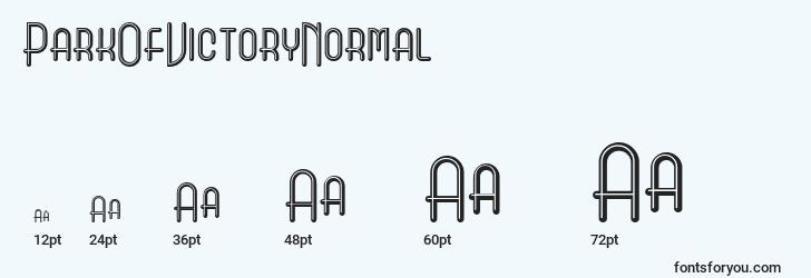 sizes of parkofvictorynormal font, parkofvictorynormal sizes