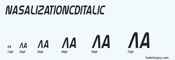 sizes of nasalizationcditalic font, nasalizationcditalic sizes