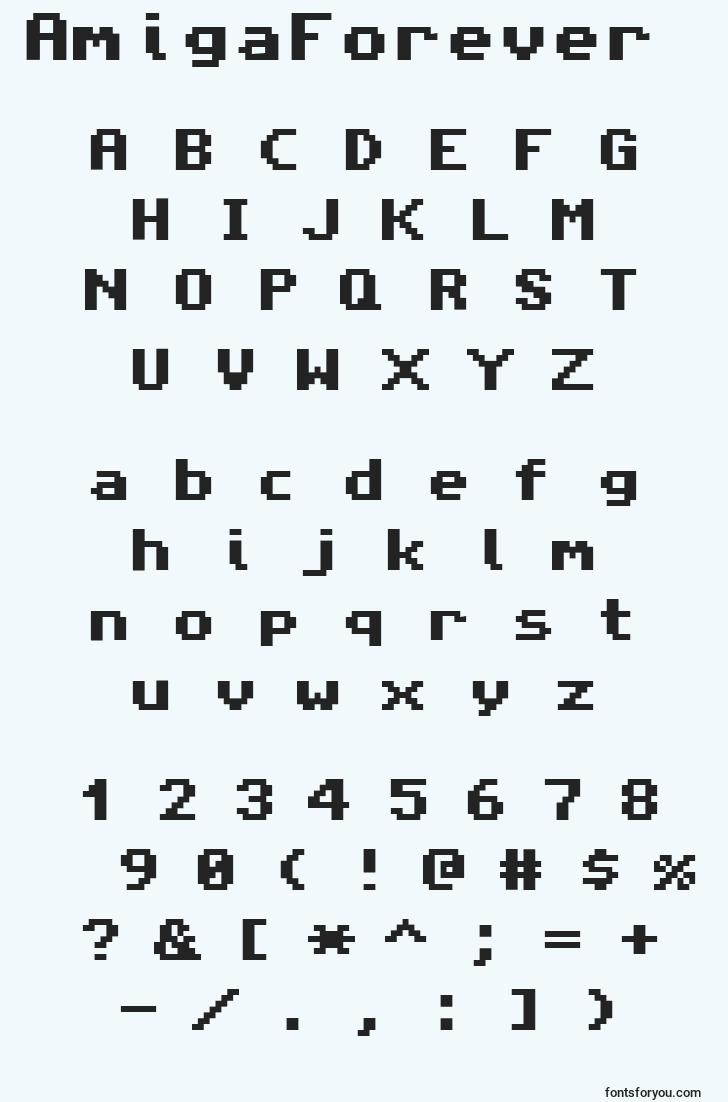 characters of amigaforever font, letter of amigaforever font, alphabet of  amigaforever font