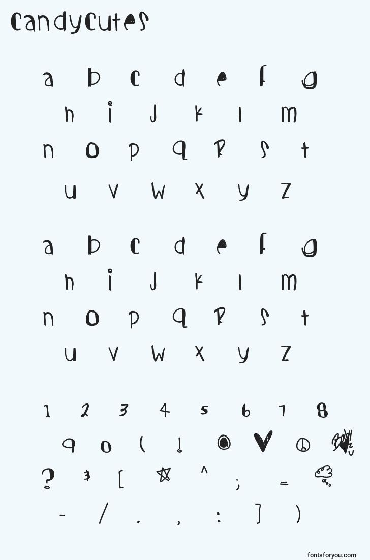 characters of candycutes font, letter of candycutes font, alphabet of  candycutes font