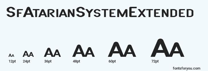 sizes of sfatariansystemextended font, sfatariansystemextended sizes