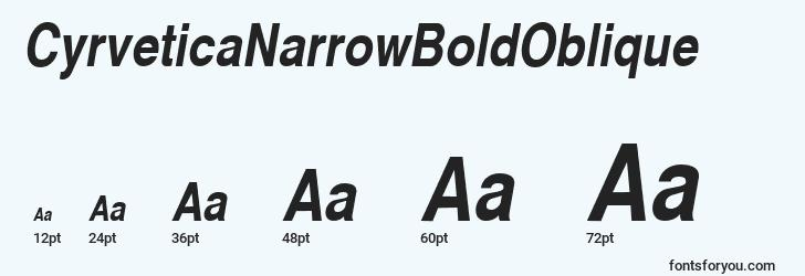 sizes of cyrveticanarrowboldoblique font, cyrveticanarrowboldoblique sizes