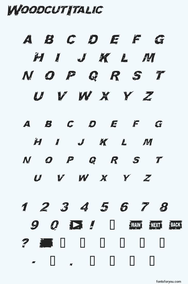 characters of woodcutitalic font, letter of woodcutitalic font, alphabet of  woodcutitalic font