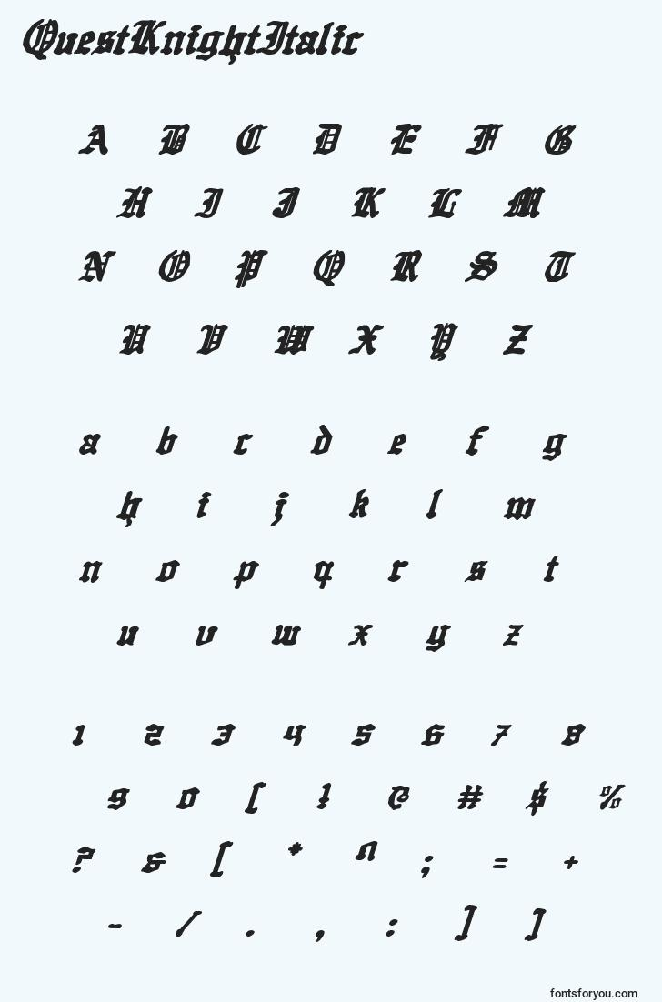 characters of questknightitalic font, letter of questknightitalic font, alphabet of  questknightitalic font