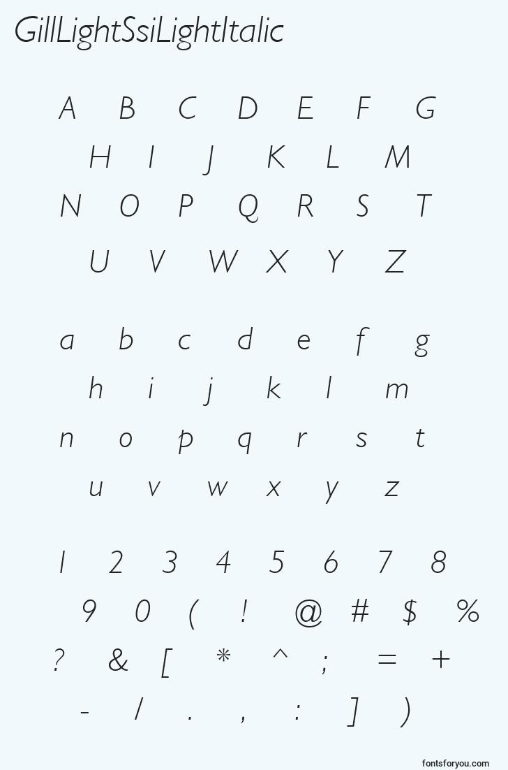 characters of gilllightssilightitalic font, letter of gilllightssilightitalic font, alphabet of  gilllightssilightitalic font