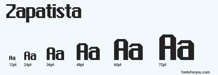 sizes of zapatista font, zapatista sizes