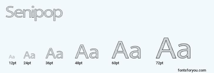 sizes of senipop font, senipop sizes
