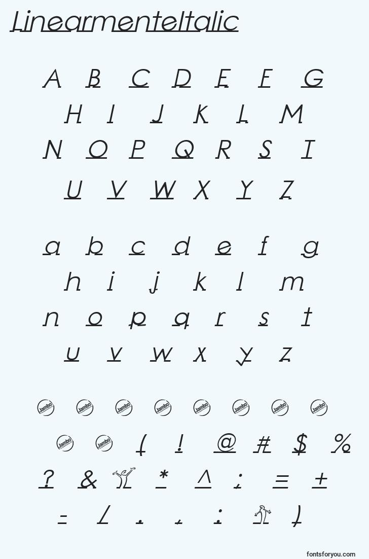 characters of linearmenteitalic font, letter of linearmenteitalic font, alphabet of  linearmenteitalic font