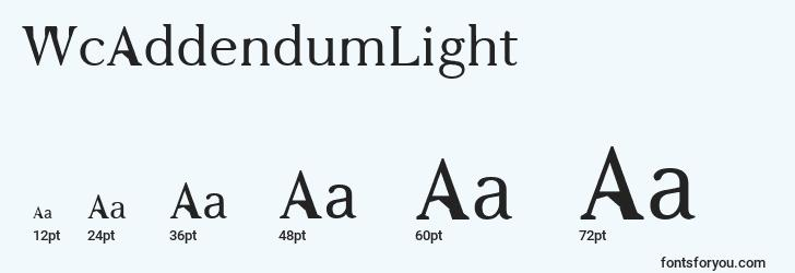 sizes of wcaddendumlight font, wcaddendumlight sizes