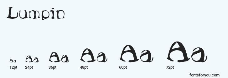 sizes of lumpin font, lumpin sizes