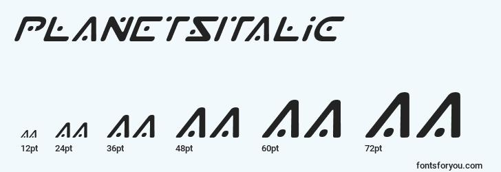 sizes of planetsitalic font, planetsitalic sizes
