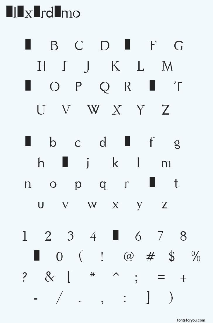 characters of elixirdemo font, letter of elixirdemo font, alphabet of  elixirdemo font