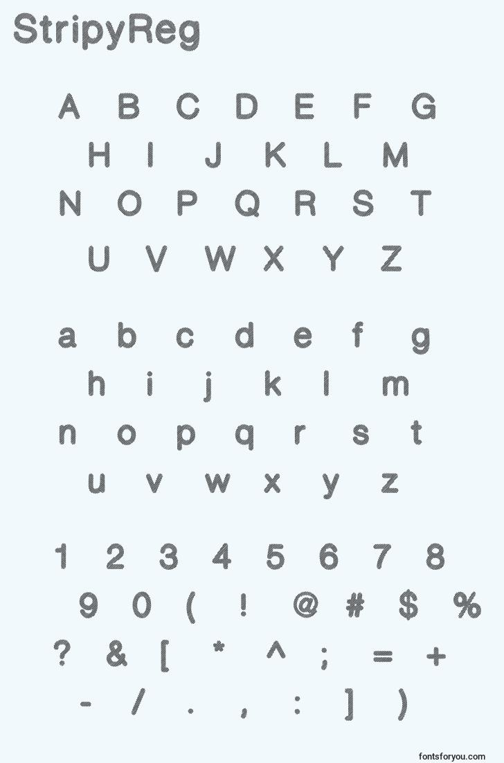 characters of stripyreg font, letter of stripyreg font, alphabet of  stripyreg font