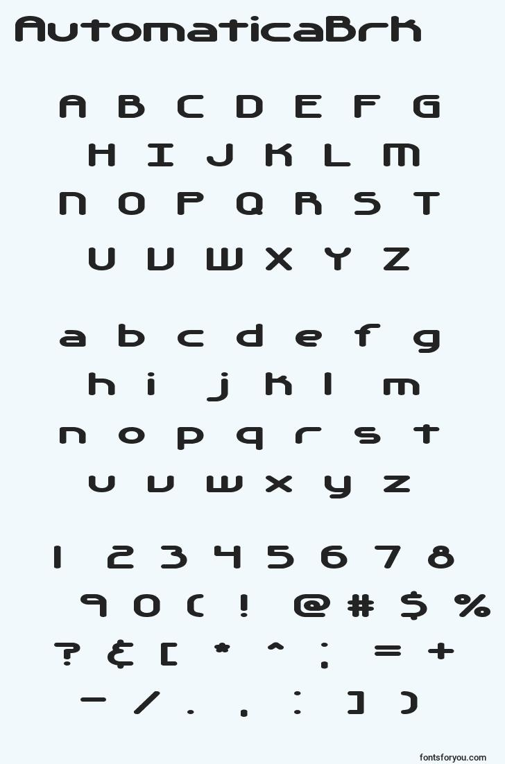 characters of automaticabrk font, letter of automaticabrk font, alphabet of  automaticabrk font