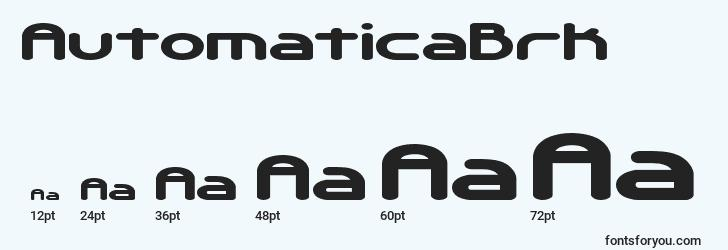 sizes of automaticabrk font, automaticabrk sizes