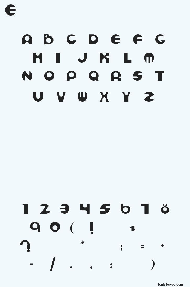 characters of espheres font, letter of espheres font, alphabet of  espheres font