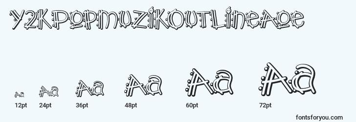 sizes of y2kpopmuzikoutlineaoe font, y2kpopmuzikoutlineaoe sizes