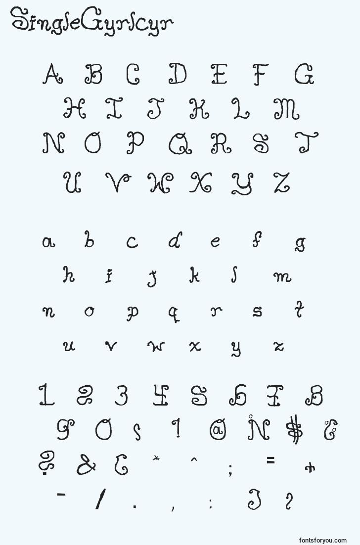 characters of singlegyrlcyr font, letter of singlegyrlcyr font, alphabet of  singlegyrlcyr font