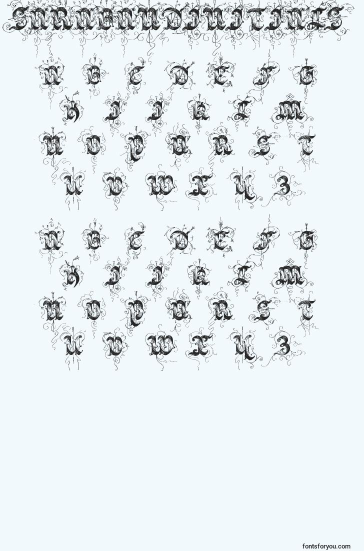 characters of sarabandinitials font, letter of sarabandinitials font, alphabet of  sarabandinitials font
