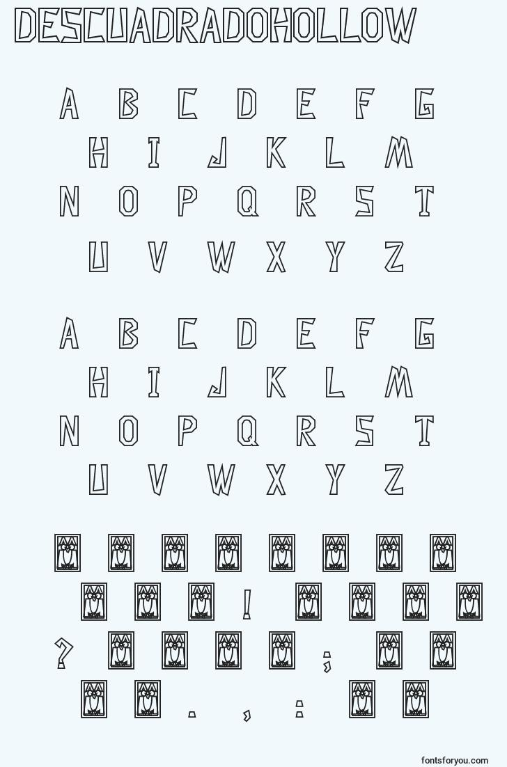 characters of descuadradohollow font, letter of descuadradohollow font, alphabet of  descuadradohollow font