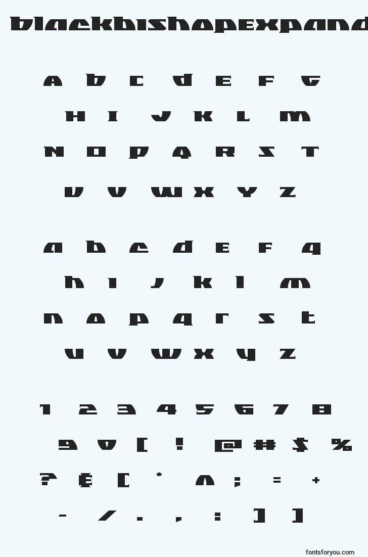 characters of blackbishopexpand font, letter of blackbishopexpand font, alphabet of  blackbishopexpand font