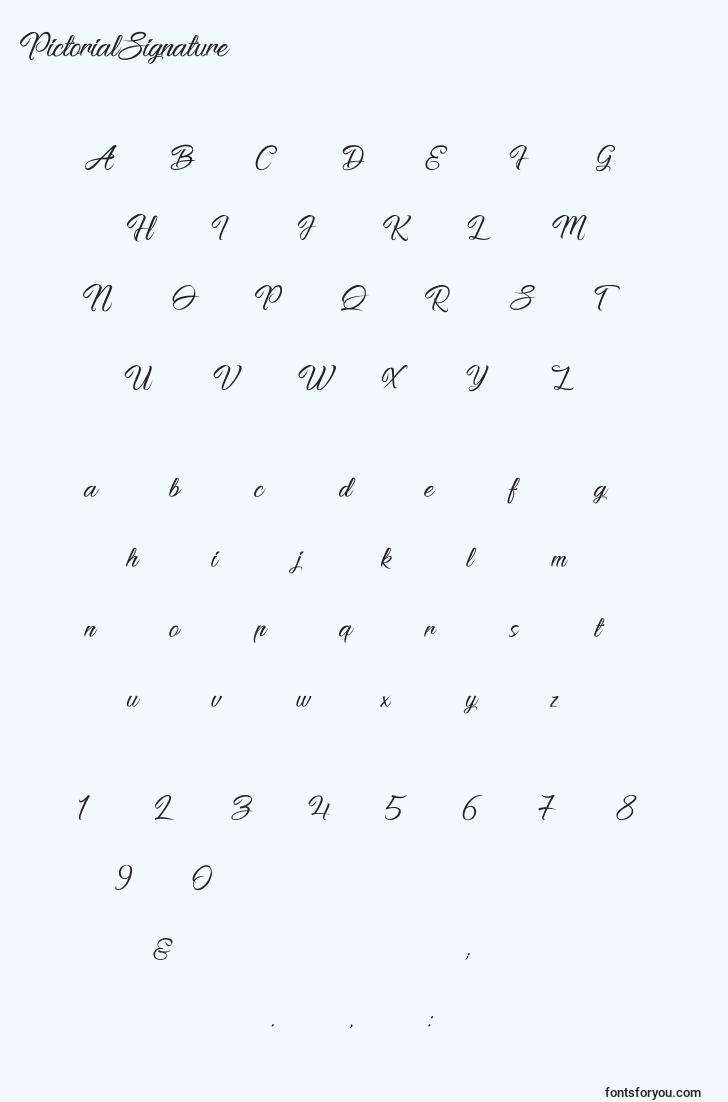 characters of pictorialsignature font, letter of pictorialsignature font, alphabet of  pictorialsignature font