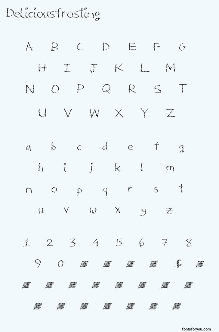 characters of deliciousfrosting font, letter of deliciousfrosting font, alphabet of  deliciousfrosting font
