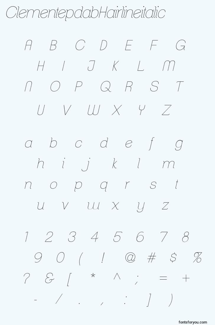 characters of clementepdabhairlineitalic font, letter of clementepdabhairlineitalic font, alphabet of  clementepdabhairlineitalic font