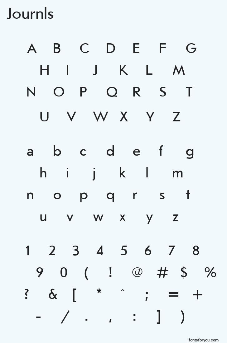 characters of journls font, letter of journls font, alphabet of  journls font