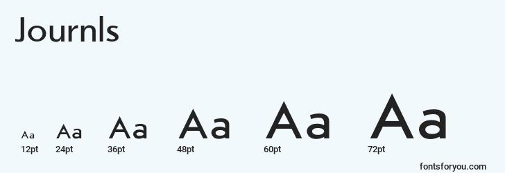 sizes of journls font, journls sizes