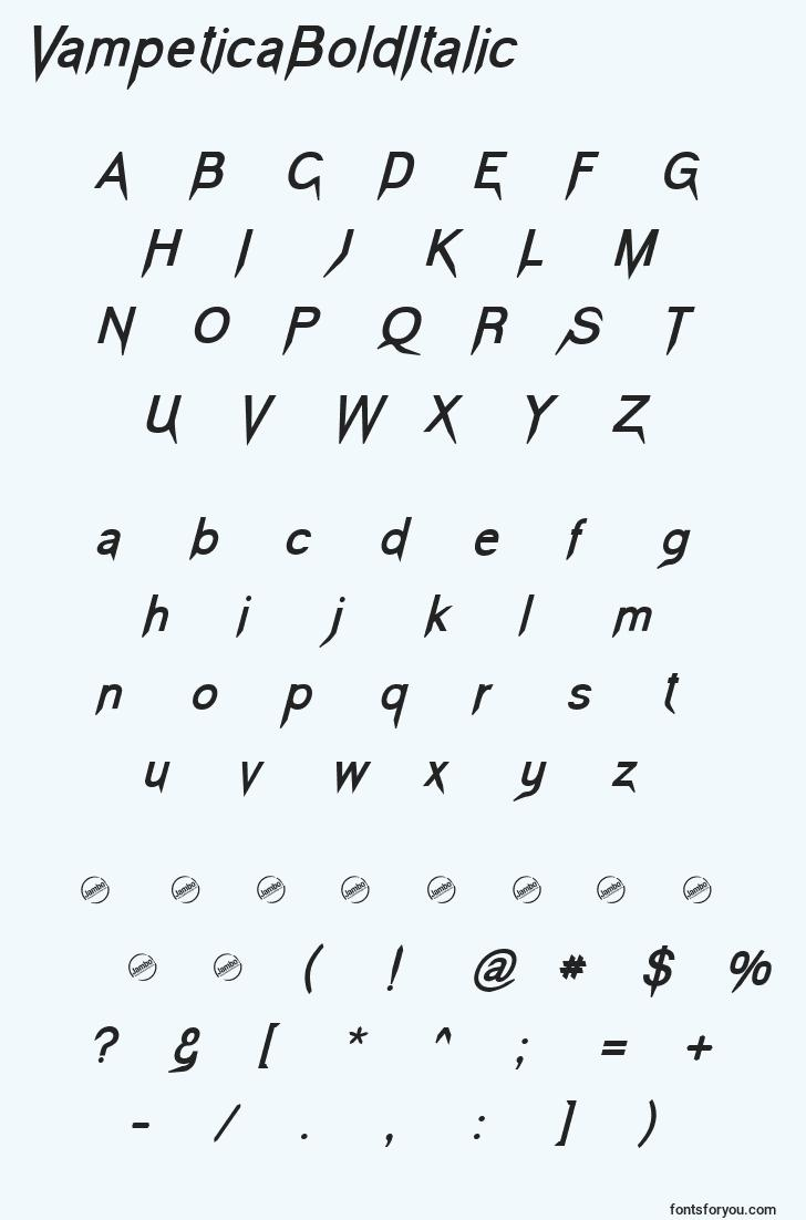characters of vampeticabolditalic font, letter of vampeticabolditalic font, alphabet of  vampeticabolditalic font