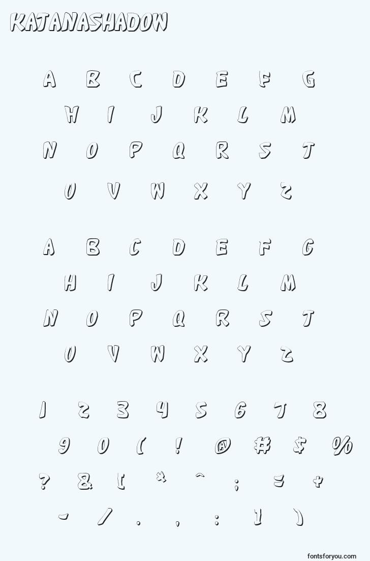 characters of katanashadow font, letter of katanashadow font, alphabet of  katanashadow font