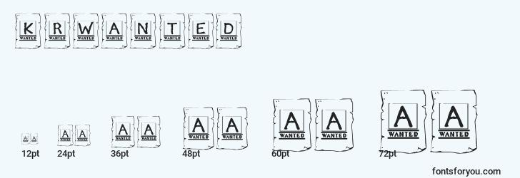 sizes of krwanted font, krwanted sizes
