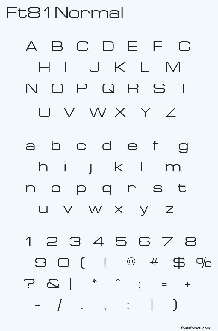 characters of ft81normal font, letter of ft81normal font, alphabet of  ft81normal font
