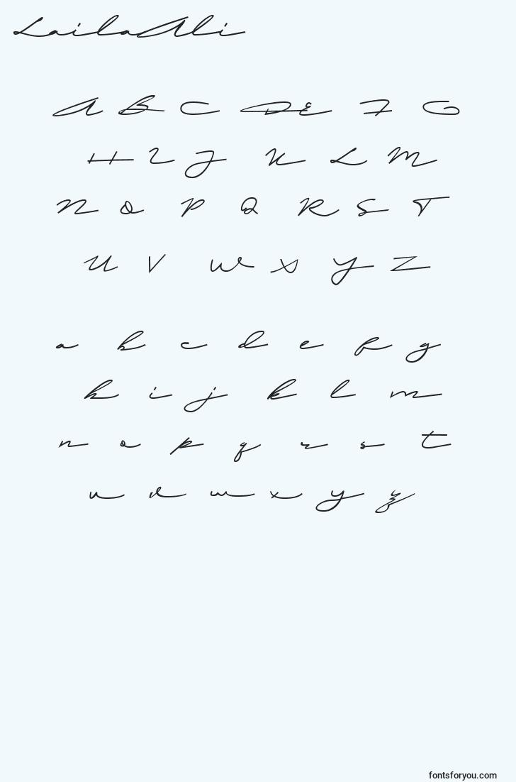 characters of lailaali font, letter of lailaali font, alphabet of  lailaali font