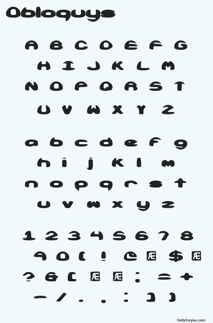 characters of obloquys font, letter of obloquys font, alphabet of  obloquys font