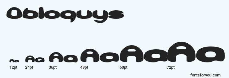 sizes of obloquys font, obloquys sizes