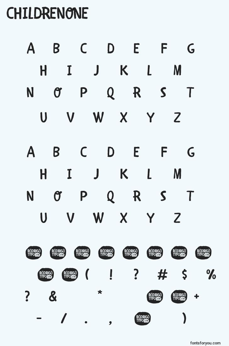 characters of childrenone font, letter of childrenone font, alphabet of  childrenone font